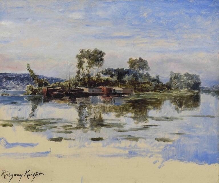 The Island, DANIEL RIDGWAY KNIGHT - American Impressionist, Realism, Landscape, - Painting by Daniel Ridgway Knight