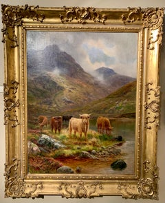 19thc Scottish landscape scene with woolly Cows and Bulls in the highlands