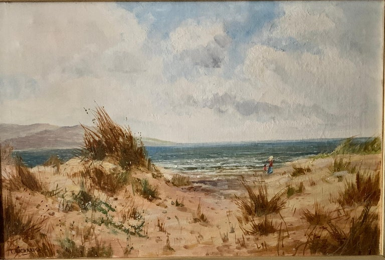 Antique oil on canvas, English beach scene, with sand dunes and people walking - Painting by Daniel Sherrin