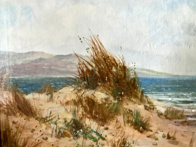 Well-painted English early 20th-century beach scene landscape  Daniel Sherrin 1868-1940 signed L. Richards This is a framed original oil painting on canvas by the late British painter Daniel Sherrin who painted under the pseudonym of L Richards.