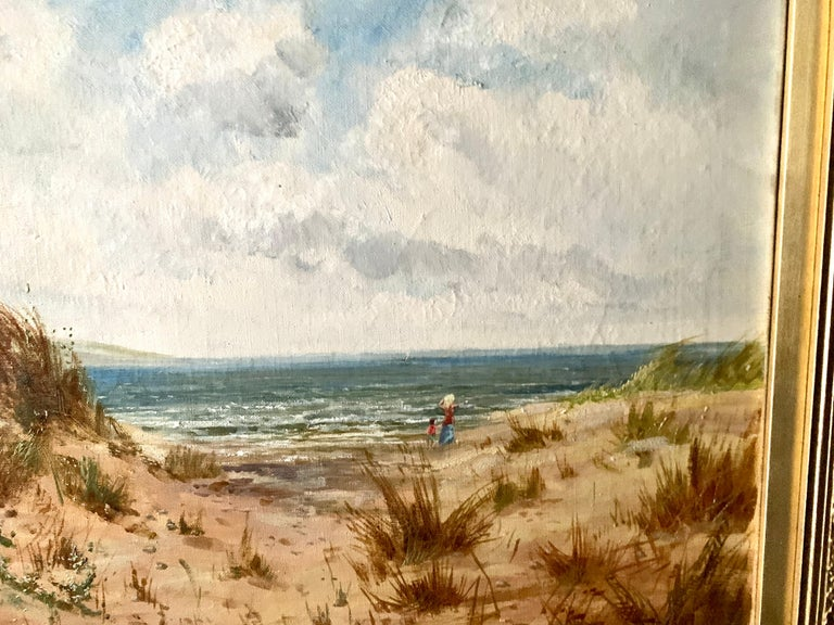 Antique oil on canvas, English beach scene, with sand dunes and people walking For Sale 1