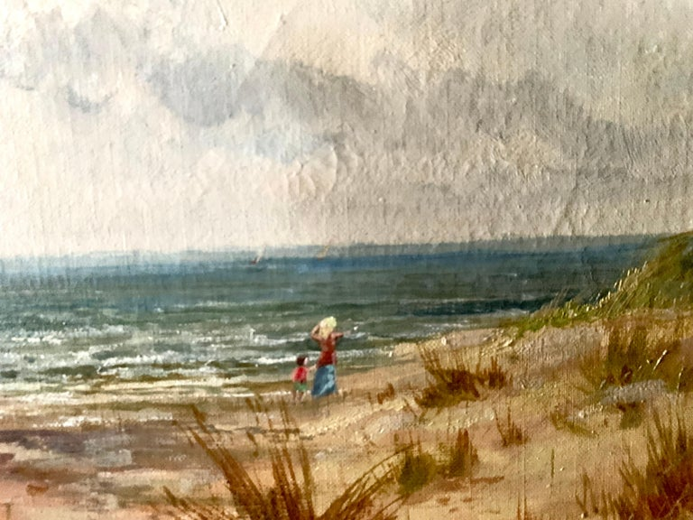 Antique oil on canvas, English beach scene, with sand dunes and people walking For Sale 2