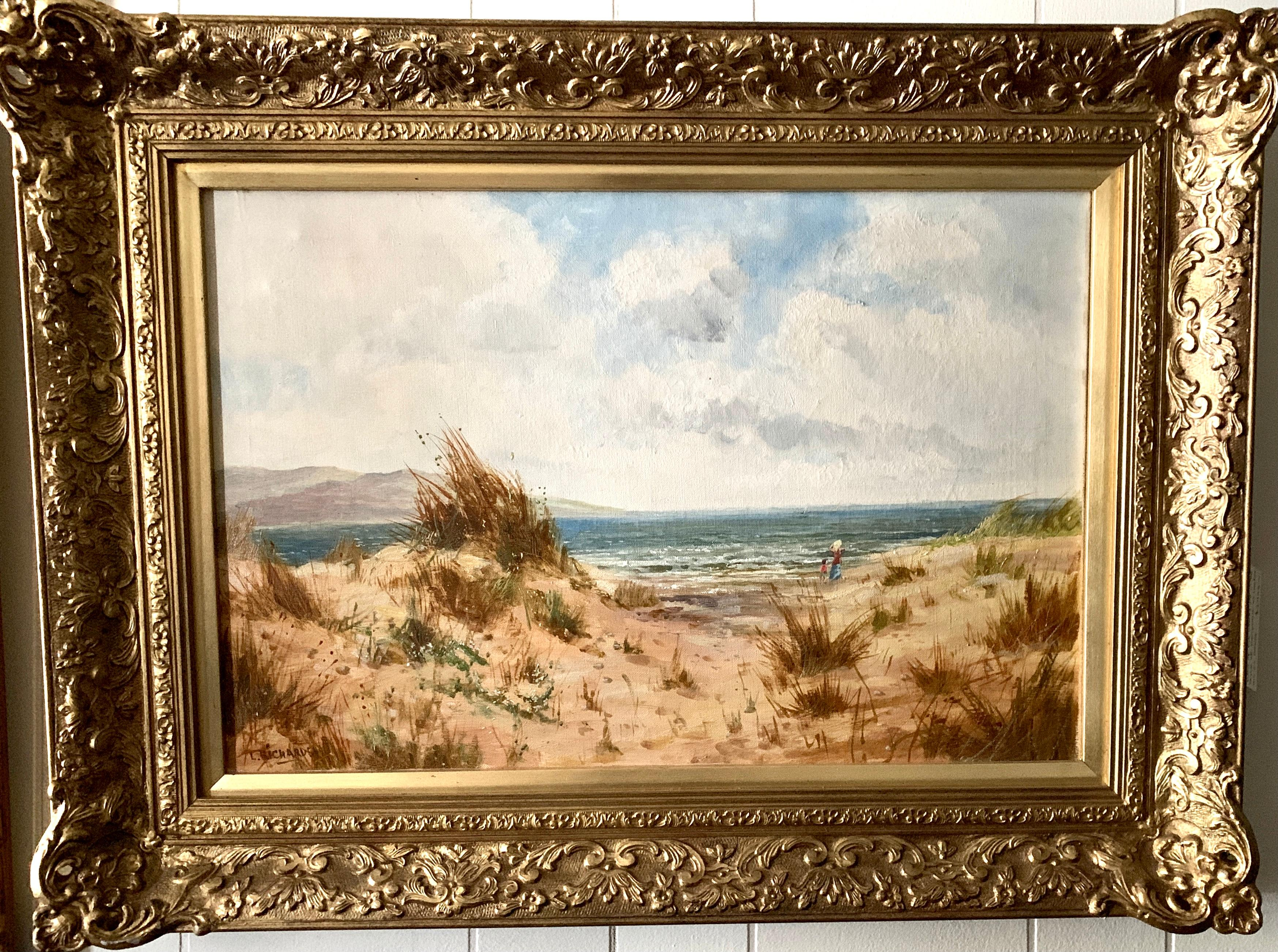 Antique oil on canvas, English beach scene, with sand dunes and people walking