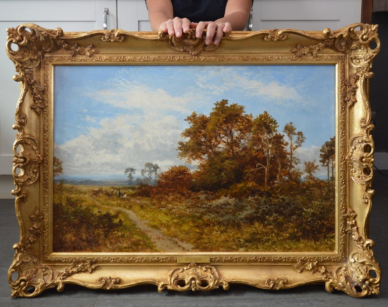 Blean Woods, Kent - 19th Century English Summer Landscape Oil Painting - Brown Figurative Painting by Daniel Sherrin