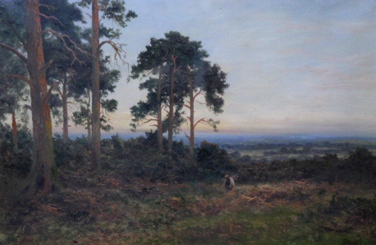 Close of Day - British 1900 Victorian art pine trees landscape oil painting  - Painting by Daniel Sherrin