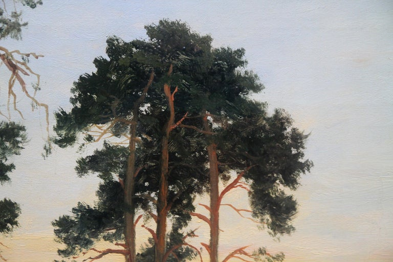 Close of Day - British 1900 Victorian art pine trees landscape oil painting  - Gray Landscape Painting by Daniel Sherrin