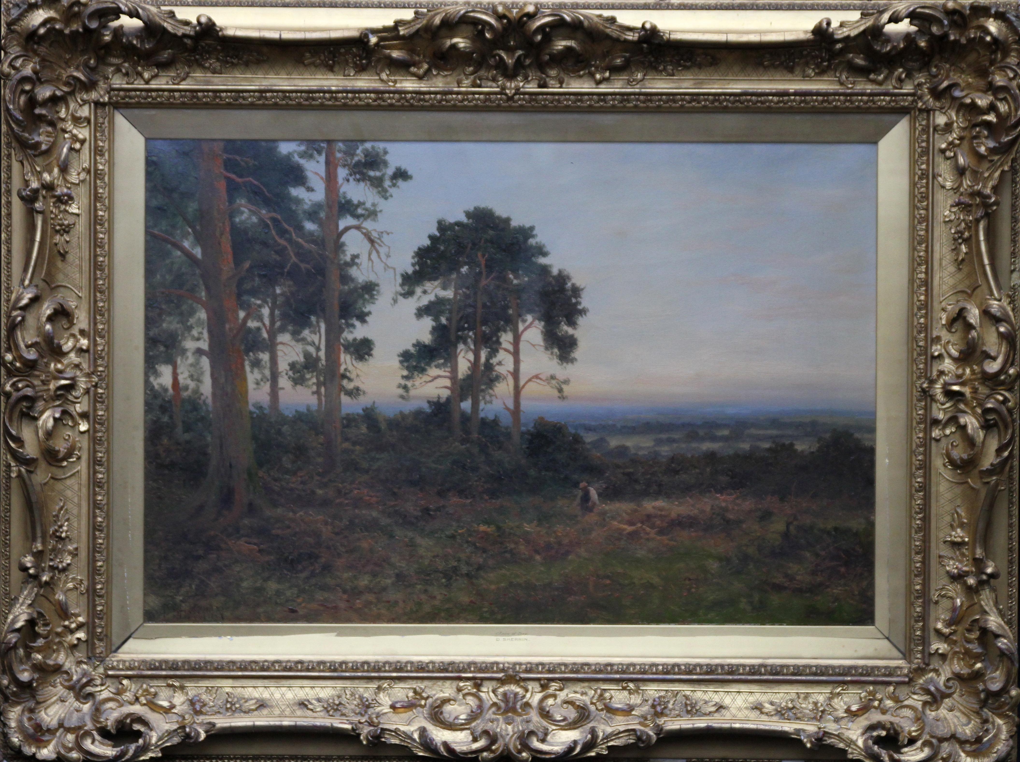 Close of Day - British 1900 Victorian art pine trees landscape oil painting