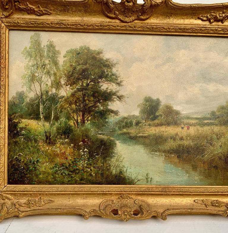 English River Landscape, 19th century, with wild flowers, figures by the river. - Painting by Daniel Sherrin
