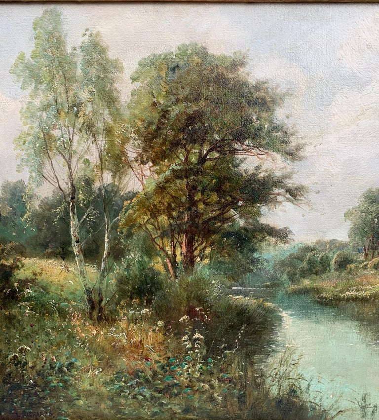 English River Landscape, 19th century, with wild flowers, figures by the river. - Brown Landscape Painting by Daniel Sherrin