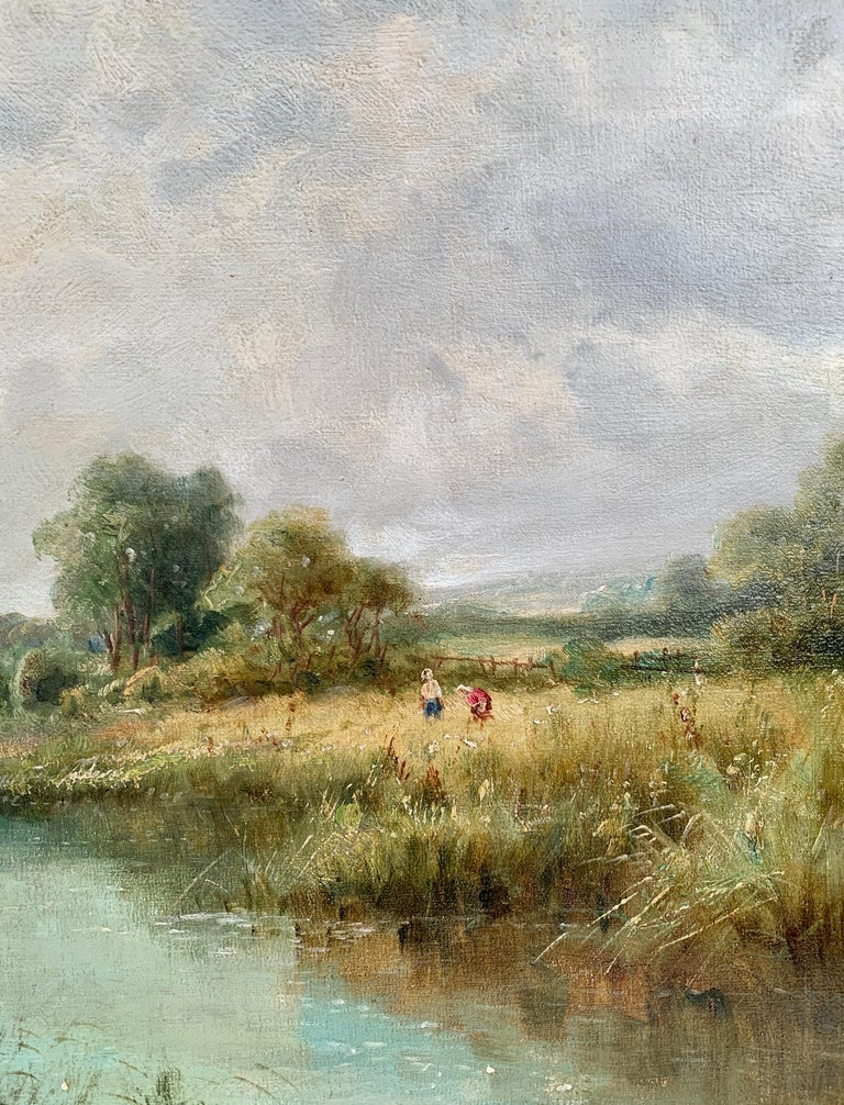 English 19th century River Landscape with wildflowers, figures by the river.   Daniel Sherrin was the son of John Sherrin, and the father of R.D. Sherrin who was also artists (a picture by the latter is shown elsewhere on Prolific artist painting