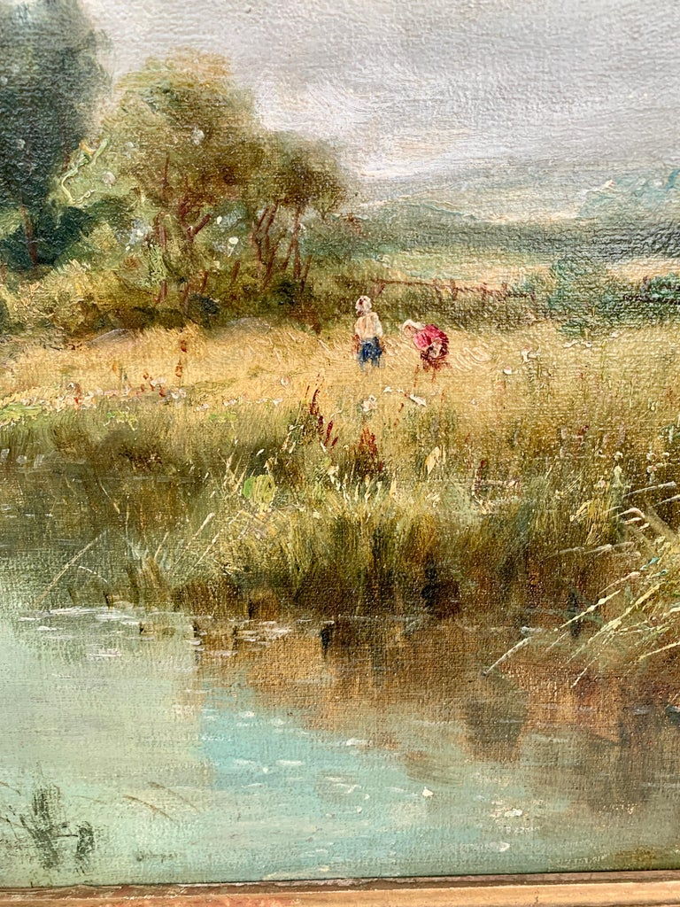 English River Landscape, 19th century, with wild flowers, figures by the river. For Sale 1