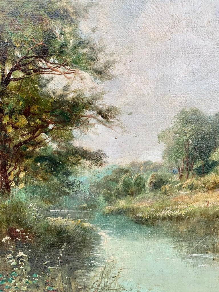 English River Landscape, 19th century, with wild flowers, figures by the river. For Sale 2