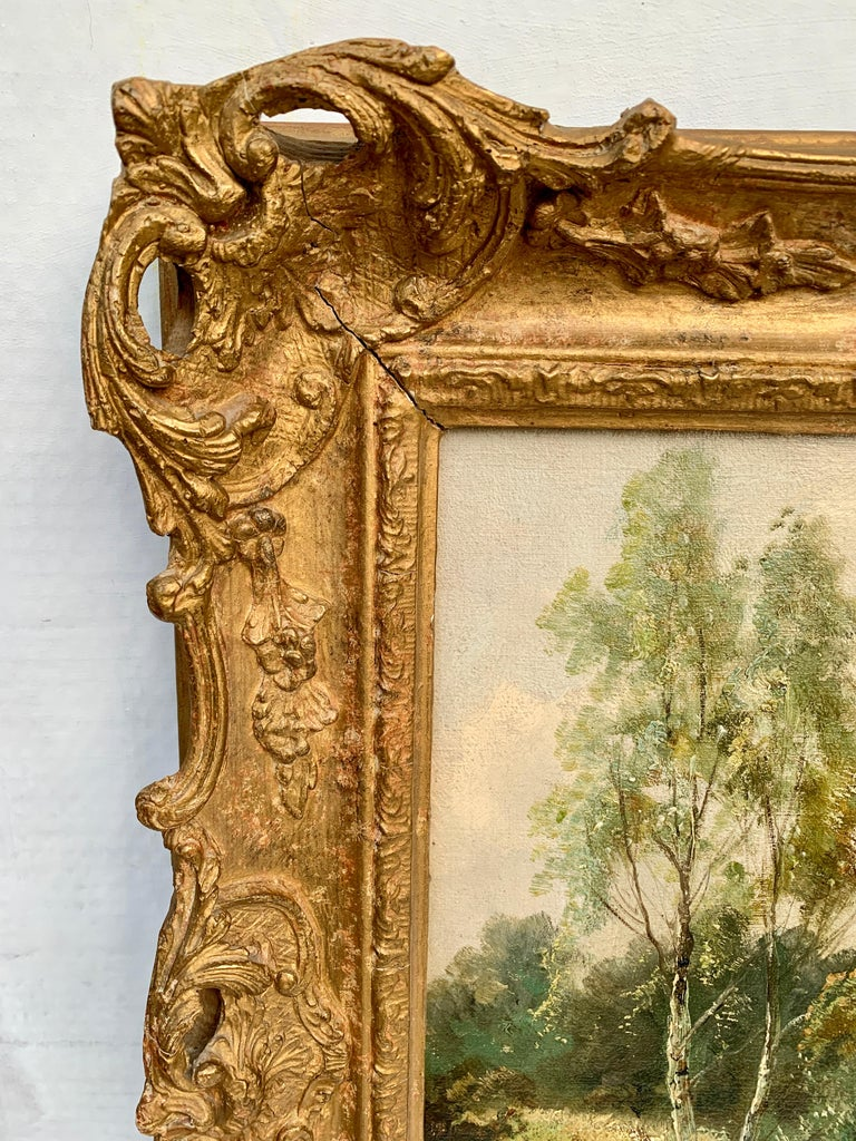 English River Landscape, 19th century, with wild flowers, figures by the river. For Sale 3