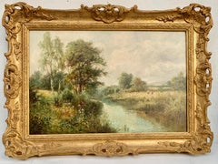 English River Landscape, 19th century, with wild flowers, figures by the river.