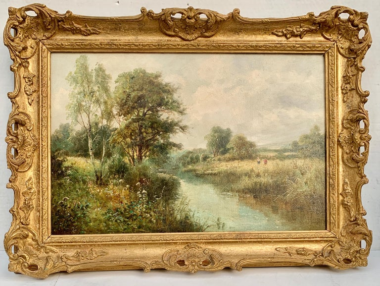 Daniel Sherrin Landscape Painting - English River Landscape, 19th century, with wild flowers, figures by the river.