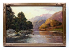 English Oil painting Landscape Original Frame Stunning Color Composition 1900