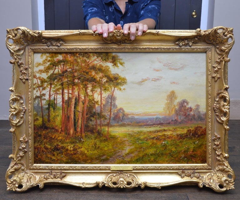 Golden Rays of Autumn - 19th Century Landscape Oil Painting Winnie the Pooh Wood - Brown Landscape Painting by Daniel Sherrin