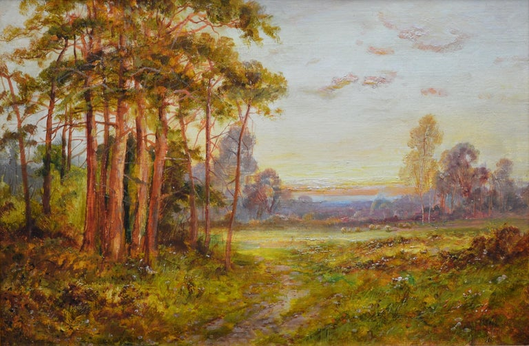 A fine late 19th century oil on canvas depicting 'The Golden Rays of Autumn' in Ashdown Forest in Sussex by the very popular Victorian landscape painter Daniel Sherrin (1868-1940). The painting is presented in a newly commissioned fine quality gold