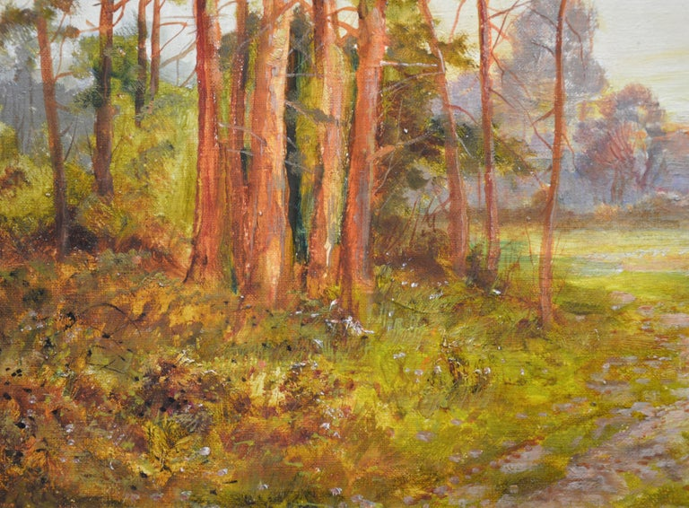 Golden Rays of Autumn - 19th Century Landscape Oil Painting Winnie the Pooh Wood For Sale 2