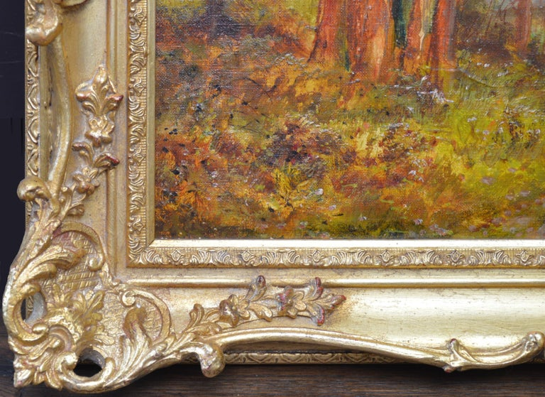 Golden Rays of Autumn - 19th Century Landscape Oil Painting Winnie the Pooh Wood For Sale 6