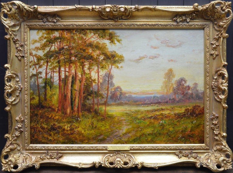 Daniel Sherrin Landscape Painting - Golden Rays of Autumn - 19th Century Landscape Oil Painting Winnie the Pooh Wood