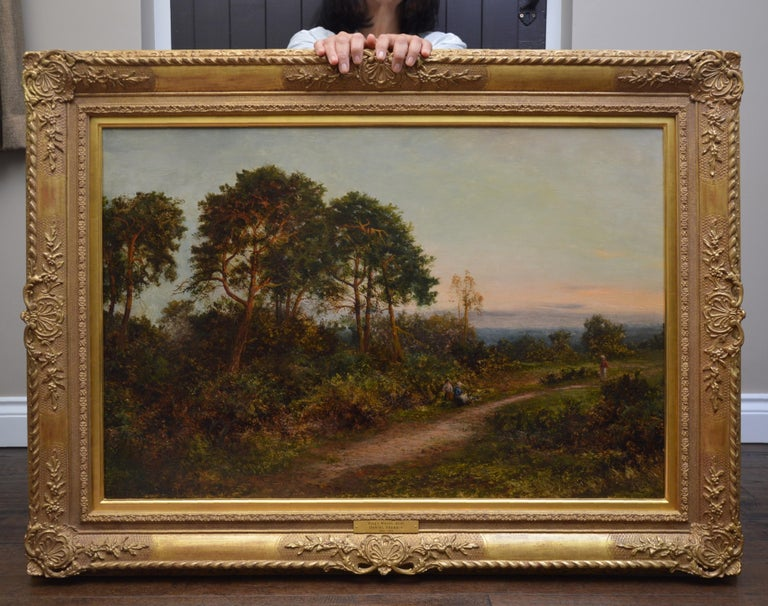 King's Wood, Kent - Large 19th Century English Landscape Oil Painting  - Brown Figurative Painting by Daniel Sherrin