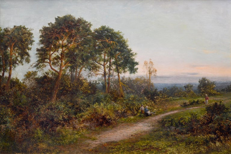 'King's Wood, Kent' by Daniel Sherrin (1868-1940).   A large fine 19th century landscape oil on canvas depicting figures on a country lane at sunset near woodland in the English county of Kent. The painting is signed by the artist and hangs in a