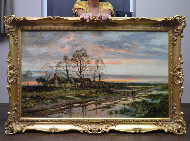The Last Gleam, Kempsey Common - 19th Century Sunset Landscape Oil Painting - Brown Figurative Painting by Daniel Sherrin