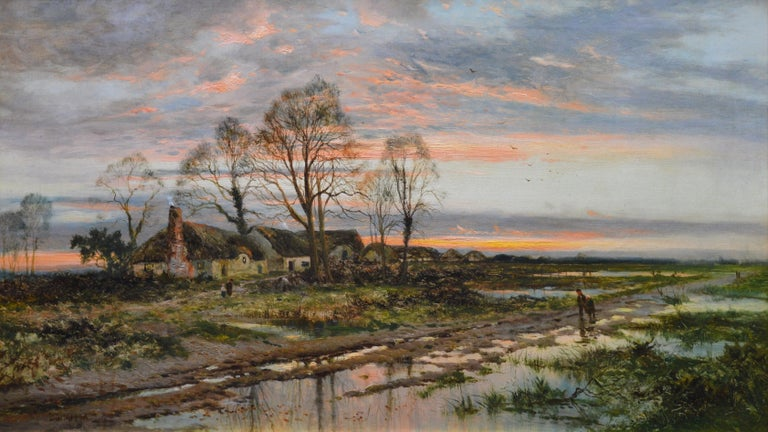 This is a large fine 19th century oil on canvas depicting 'The Last Gleam' of the setting sun on Kempsey Common, Worcestershire by the very popular Victorian landscape painter Daniel Sherrin (1868-1940). The painting is signed by the artist, and