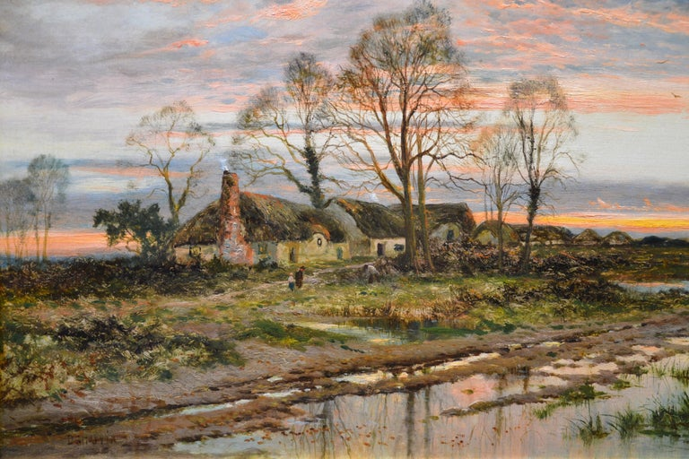 The Last Gleam, Kempsey Common - 19th Century Sunset Landscape Oil Painting 1