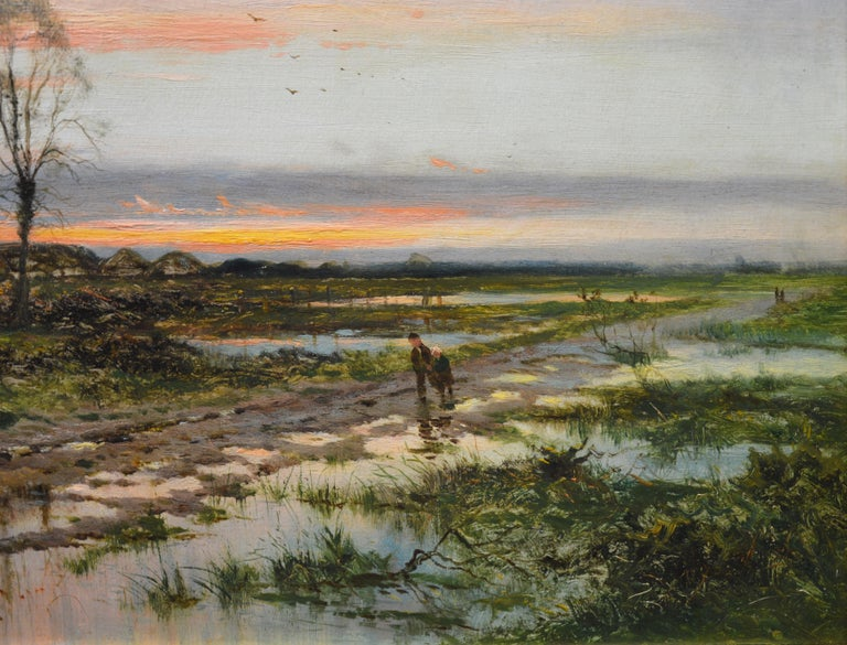 The Last Gleam, Kempsey Common - 19th Century Sunset Landscape Oil Painting 2