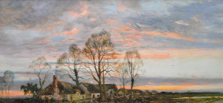 The Last Gleam, Kempsey Common - 19th Century Sunset Landscape Oil Painting 3