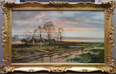 The Last Gleam, Kempsey Common - 19th Century Sunset Landscape Oil Painting