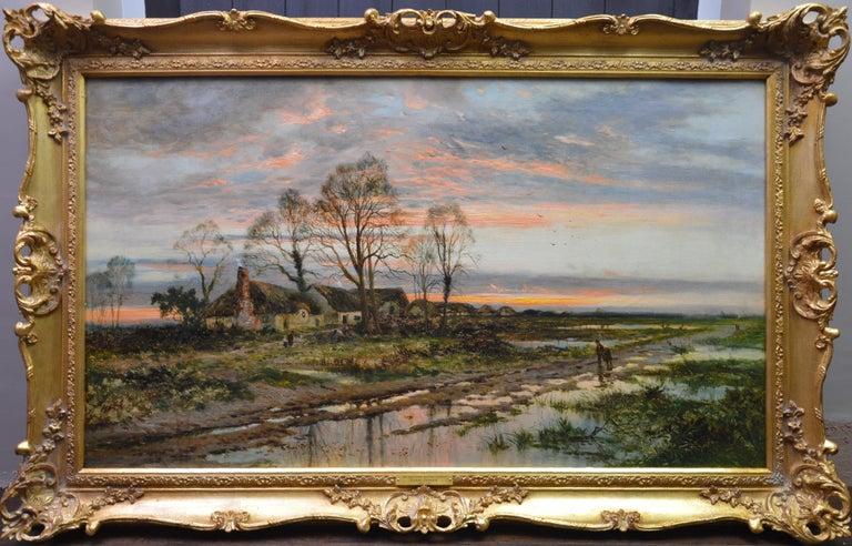 Daniel Sherrin Figurative Painting - The Last Gleam, Kempsey Common - 19th Century Sunset Landscape Oil Painting