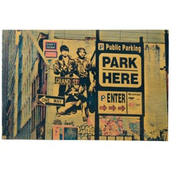 "Daniel Siboni ""Park Here"" Street Art, Large Photo on Wood Print"