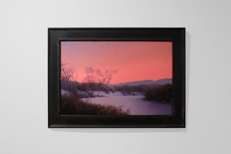 CHATFIELD, Colorado landscape, dusk, red sky, realism, snow scene - Painting by Daniel Sprick