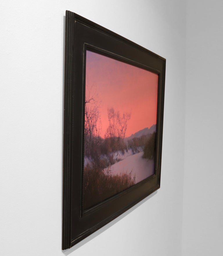 CHATFIELD, Colorado landscape, dusk, red sky, realism, snow scene - Contemporary Painting by Daniel Sprick