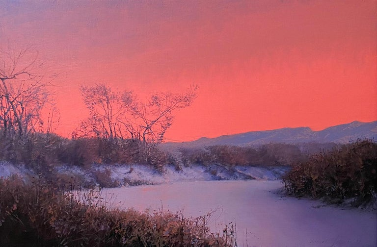 Daniel Sprick Landscape Painting - CHATFIELD, Colorado landscape, dusk, red sky, realism, snow scene