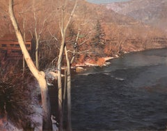 Glenwood Springs, River, Woods, Winter, Snow, Mountains, Landscape