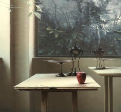Signals, Still Life, Tables, Plants in Window, White, Red, Green, Photorealism