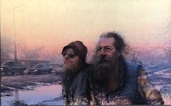 """Daniel Sprick, """"Souls in Purgatory"""", dual portrait urban landscape oil painting"""