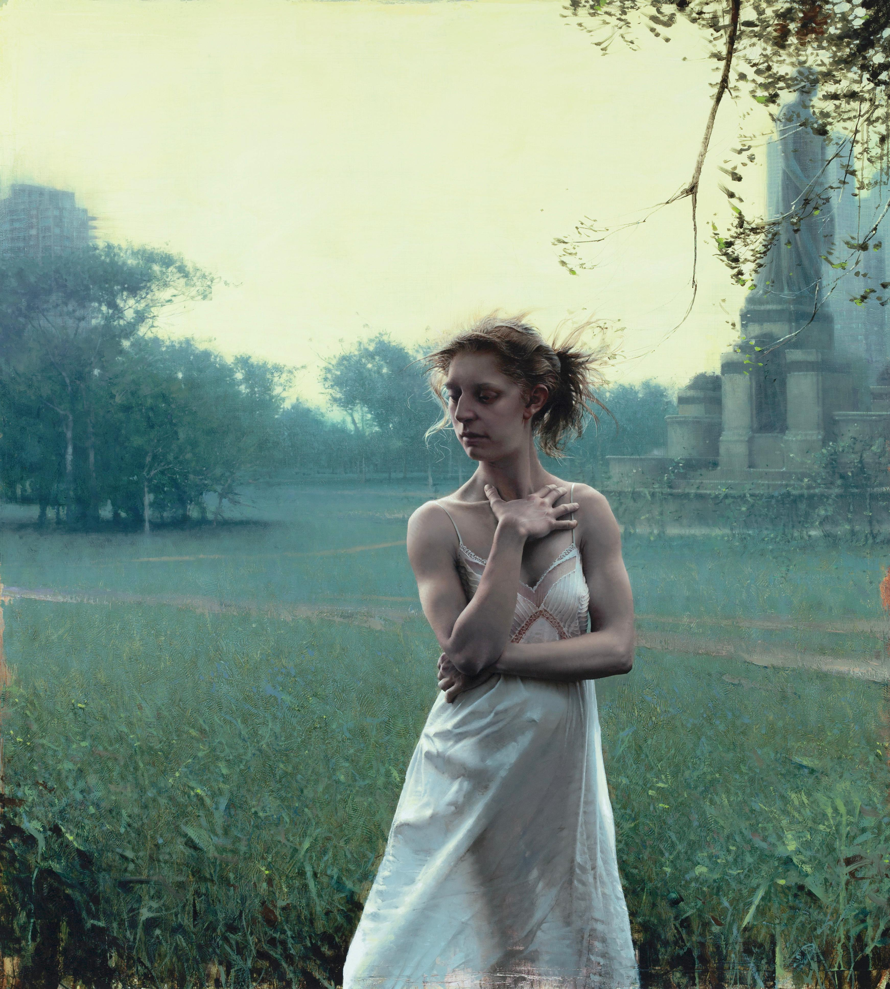 WAKE FROM DREAM., Photorealism, Woman in White Dress, landscape