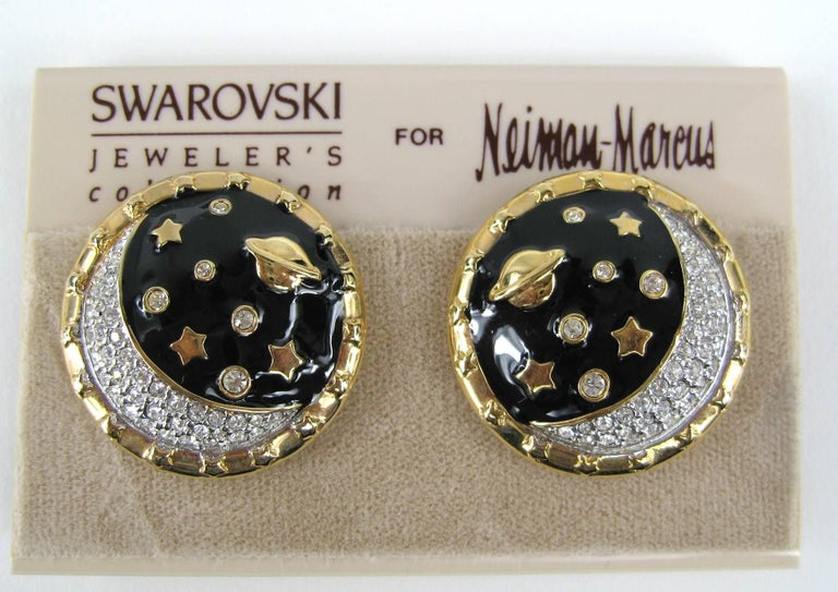 Swarovski Crystal Moon Earrings. Still on original  Neiman Marcus earring card. Measuring 1.15n in diameter. This is out of a massive collection of Hopi, Zuni, Navajo, Southwestern, sterling silver, costume jewelry and fine jewelry from one