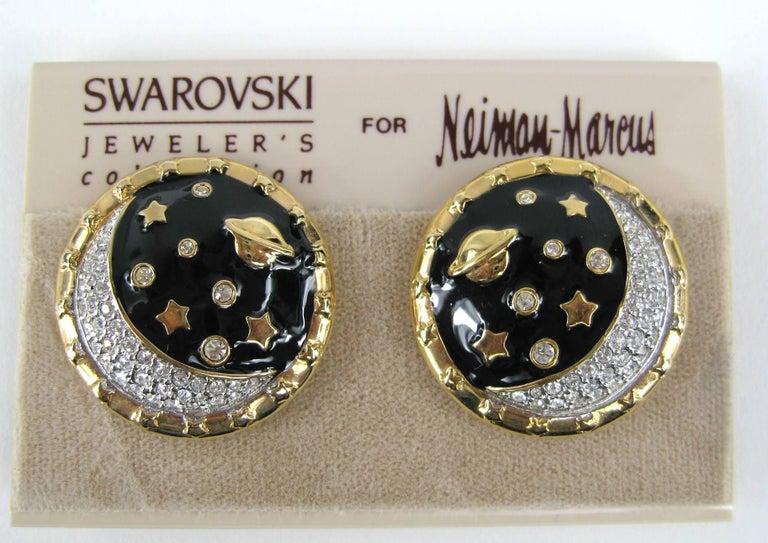 Women's Daniel Swarovski Crystal Encrusted moon clip on earrings New Never Worn 1980s For Sale