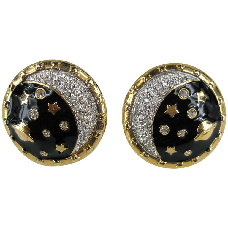Daniel Swarovski Crystal Encrusted moon clip on earrings New Never Worn 1980s For Sale