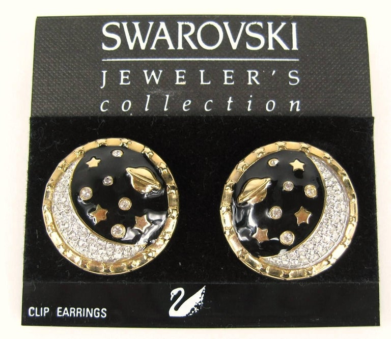 Pair of Jewelers Collections earrings from Swarovski. New old stock, Never worn. Measure 1.15 in. or 29.30 mm. These are Clip on's. This is out of a massive collection of Hopi, Zuni, Navajo, Southwestern, sterling silver, costume jewelry and fine