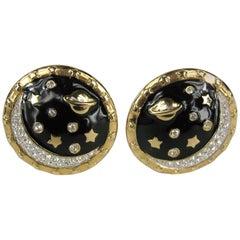 Daniel Swarovski Crystal Moon Bezel Set Earrings Never Worn