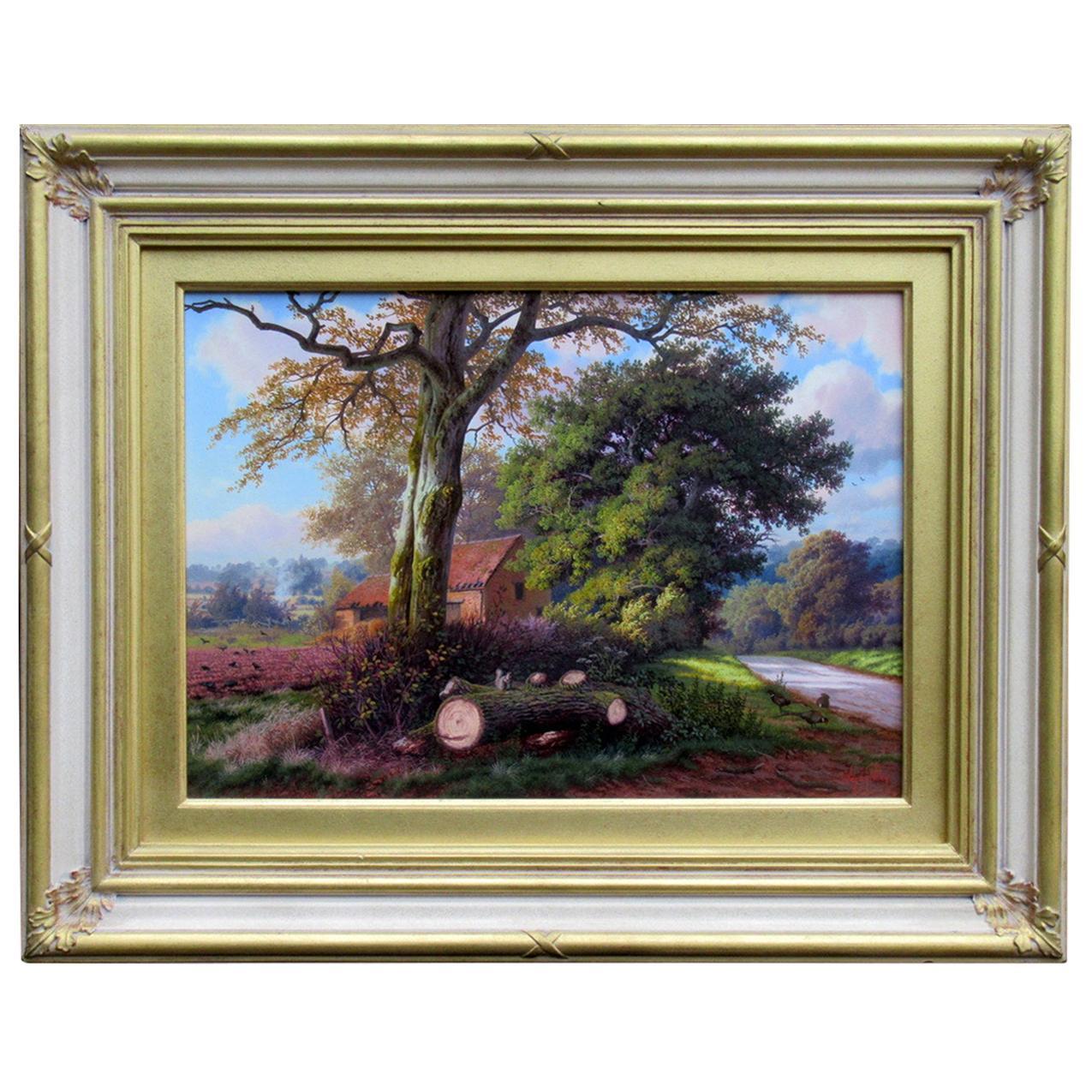 Daniel Van der Putten Oil Painting English Rural Landscape Scene Farmhouse Trees