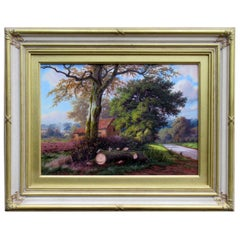 Daniel Van der Putten Oil Painting English Rural Landscape Scene Farmhouse Trees