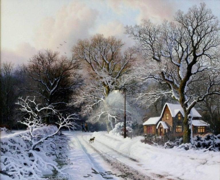 Winter Evening, Warwickshire - Painting by Daniel Van Der Putten